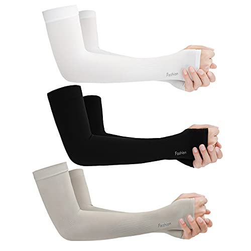 SIMYJOY Mangas de brazo de enfriamiento Protección solar UV con orificio para el pulgar UPF 50+ Manta cálida Hielo transpirable Color puro Hombres Mujeres Ciclismo Pesca Conducción Correr Golf B3