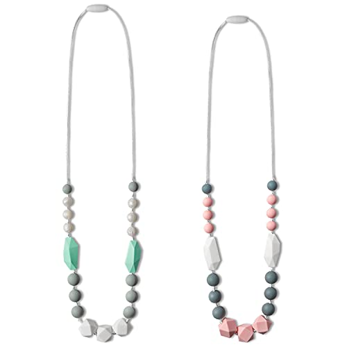 WATINC 2pcs Baby Teething Necklace for Mom, Silicone Teething Necklace for Baby, Sensory Nursing Teether Necklace Chewable Jewelry Beads, Teething Beads Sensory Chew Necklaces (Pink, Green White)