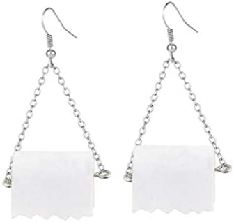 ROSTIVO Toilet Paper Earrings for Women and Girls Novelty Dangle Earrings Toilet Paper Earrings product image