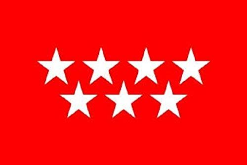 Durabol Bandera de Madrid Comunidades autónomas de España 60 * 90 cm Satin 2 Anillas metálicas fijadas en el Dobladillo (Madrid)