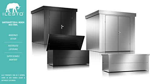 ILESTO Aufbewahrungsbox aus Stahl, Benni-Boy (401L): Auflagenbox wasserdicht L | Kissenbox für Ihren Garten 135x65x69cm | Stauraum für den Außenbereich | Anthrazit - 7