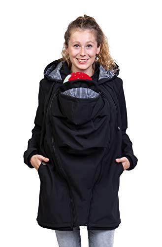 Viva la Mama - Mantel für Schwangerschaft und zum Babytragen, Winddicht, wasserabweisend, Allwetter, Winter - MELLORY - schwarz/Streifen - M