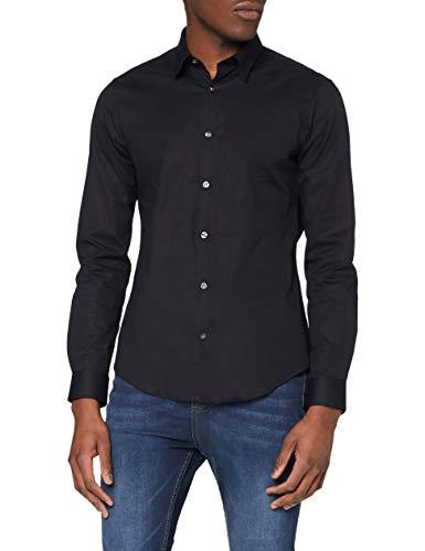 Amazon-Marke: Find Herren Skinny Fit-Hemd mit Kragennadel, Schwarz ( Pin Collar Skinny Fit /101), 41 cm, Label: L