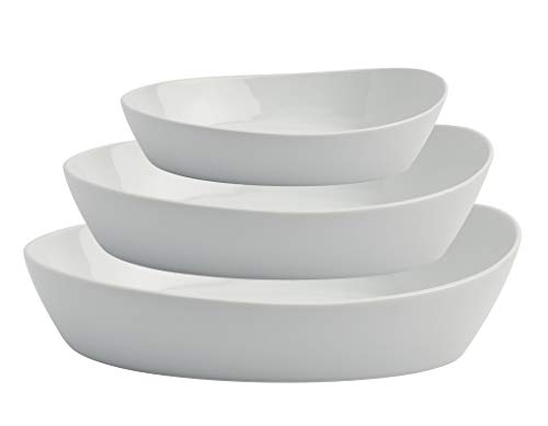 White Porcelain Oval Serving Bowl Set
