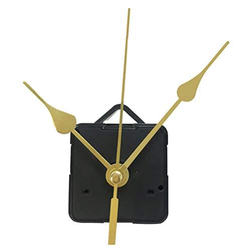 DOITOOL 1 piezas kit de movimiento reloj de cuarzo silencioso mecanismo de reloj maquinaria reloj pared maquinaria de reloj con agujas de pared con 3 manos sin batería (mano dorada)