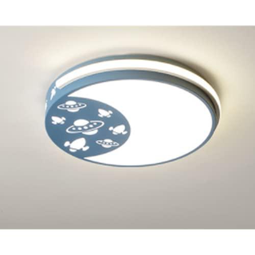 Plafón Led De Techo Niñas/Niños,Lámpara De Techo Regulable Con Mando A Distancia Para Habitación Infantil,Regulación Del Control Remoto 46W Azul 42 * 42 * 7Cm Lámparas De Nave Espacial De Fantasía