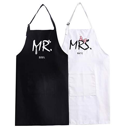 UJoowalk Mr Mrs Bridal Shower Couple Aprons Wedding Gifts Newlywed Engagement Cooking Set Present (Soul Mate)