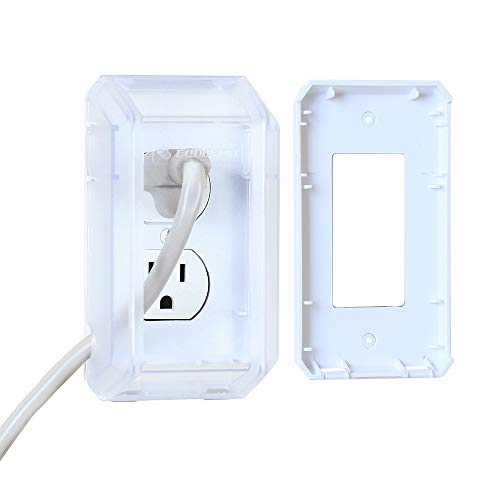 EUDEMON Baby Safety Electrical Outlet Cover Box Childproof Large Plug Cover for Babyproofing Outlets Easy to Install & Use (Transparent)