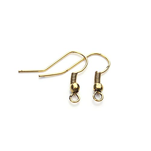 Fransande 200 ganchos de metal para pendientes, utilizados para hacer joyas, pendientes, accesorios hechos a mano, oro oscuro