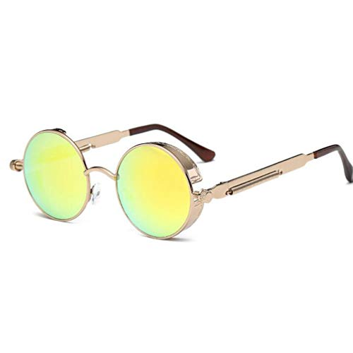 Yuandongxing Yuandongxing Metall Steampunk Sonnenbrille Männer Frauen Runde Brille Vintage Sonnenbrille Gothic UV400 Eyewear
