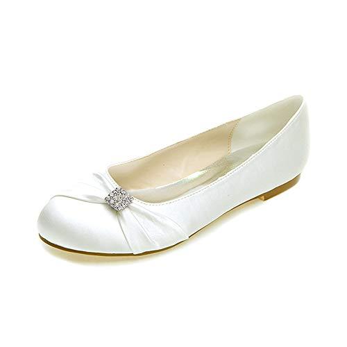 MNVOA Weiße Brautschuhe Satin Runde Toe Strass Slip auf Flache Hochzeitsschuhe,Elfenbein,40EU
