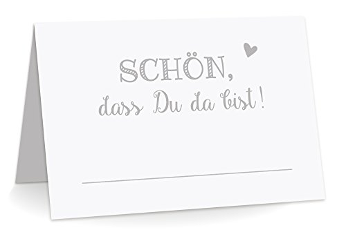 KuschelICH 50 Premium Tischkarten Schön DASS Du da Bist mit Herz grau - Platzkarten zum selbst Beschriften (Grau, 50)