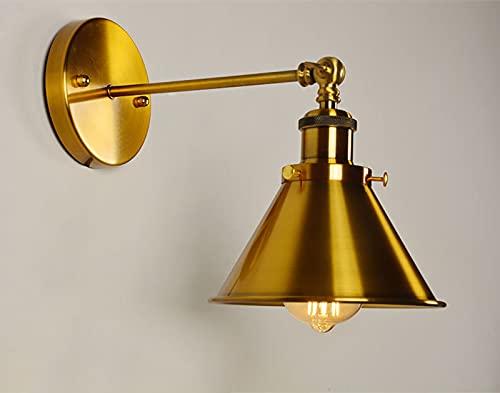 ASDNN Lámpara De Pared De Metal Industrial para Interiores, Aplique De Pared De Bronce LED Dorado, Luz De Embudo E27 De Lujo, Adecuado para La Decoración del Pasillo De La Cabecera del Dormitorio.