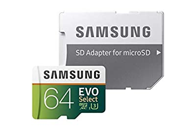 Samsung EVO Select 64 GB microSDXC UHS-I U3 Memory Card with Adapter [Amazon Exclusive]