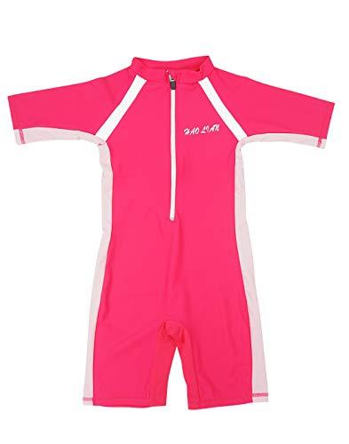 HaoLian - Bañador Niñas para Deportes Acuáticos Competición Ropa de Baño de Una Pieza para Natación Buceo Surf Playa Rosa Oscuro - Talla L/ES 5-6 Años