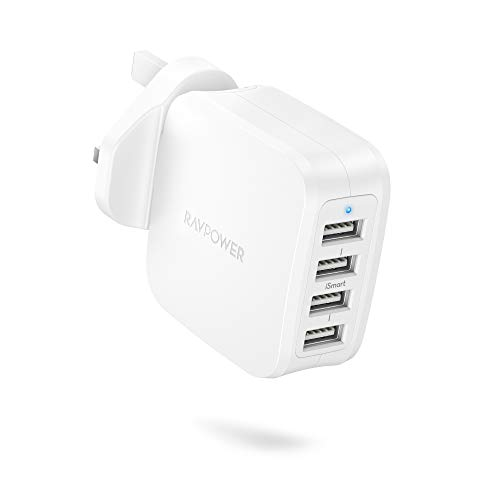 Wall Charger, RAVPower 40W 8A 4-Port USB Plug Charger with iSmart 2.0 for iPhone 12 Mini Pro Max 11 Pro X Xr XS Max, Galaxy, iPad Pro/Air 4/Mini 4 Tablet, Power Bank and More–White