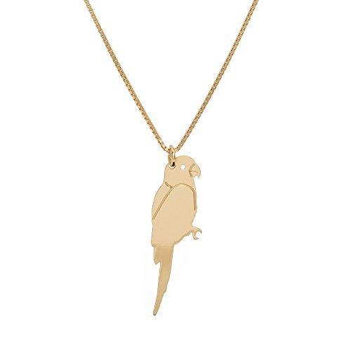 Malaika Raiss Feine Goldkette mit Papagei-Anhänger 925er Sterling Silber 24 Karat vergoldet Kettenlänge 45 cm