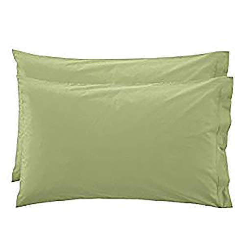 R.P. Pair of Plain Cotton Bed Pillowcases with Click Clock, Various Colours - Sage Green