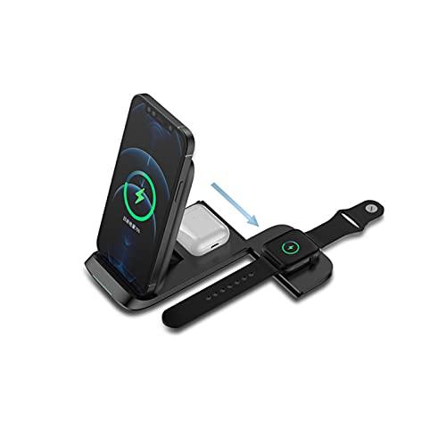 Cargador Inalámbrico 3 in 1,Tablero Plegable Vertical Del Cargador Del Soporte Carga Rápida 15W Para Los Teléfonos Móviles, Apply to IPhone12/12 Pro/12ProMax/IPhone11/IPhone11Pro/IPhone11Pro Max