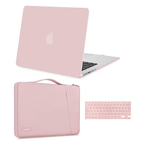 MOSISO Compatible with MacBook Air 13 inch Case (models: A1369 & A1466, Older Version 2010-2017 Release), Plastic Hard Shell Case & 360 Protective Carrying Sleeve Bag & Keyboard Cover, Rose Quartz