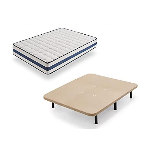 HOGAR24 TZ40-Colchón Viscoelástico + Base tapizada con Patas, Medida 135x190 cm, Núcleo Alta Densidad Transpirable, Lado Verano-Invierno con Tejido 3D, Altura 22 cm