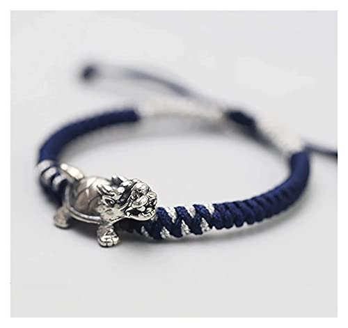 Feng shui riqueza pulsera dragón tortuga tibetan 999 puro plata pulsera azul marino azul chino antiguo estilo auspicioso afortunado encanto brazalete prosperidad por dinero buena suerte longevidad Ani