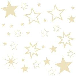 30 Stück Sterne Farbe Beige / Creme Aufkleber, Mix-Set, Fensterdekoration zu Weihnachten Fensterbild / Fensteraufkleber, Wandtattoo Deko Sticker, Autoaufkleber, Weihnachtsdekoration, Schaufenster In- und Outdoor 70001
