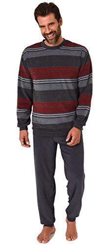 Eleganter Herren Frottee Pyjama Schlafanzug mit Bündchen und Rundhals in Streifenoptik, Farbe:dunkelgrau, Größe:54