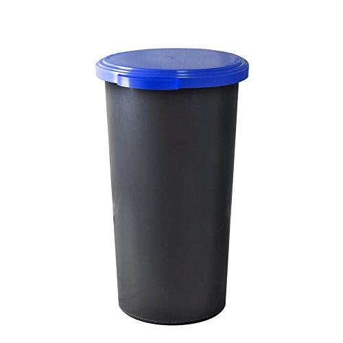 KUEFA 60L Müllsackständer mit flachem Deckel - Gelber Sack Mülleimer (Blau)