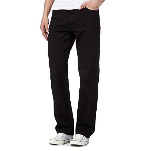 Heren Zwart Blauw Denim Jeans Klassieke Rechte Been Plain Denim Jeans (Zwart Lengte 29/Taille 36 Inch)