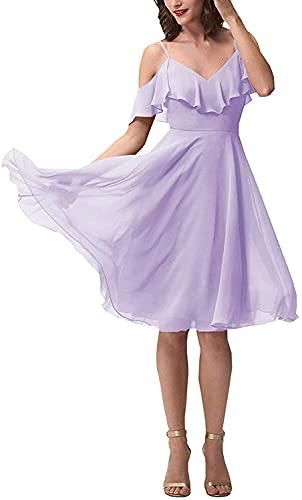 Yadressy Women's Short Chiffon Bridesmaid Dresses Lavender V Neck Wedding Party Gowns Infinity Dresses for Bridesmaids YB013,18W