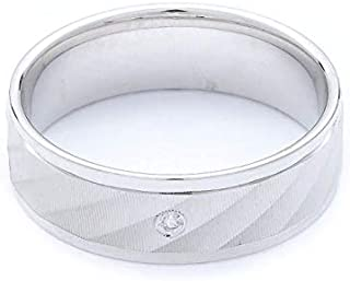 Breuning 18K White Shiny & Matte Finish 0.015ct Round cut Diamond Wedding Ring [BR7091]