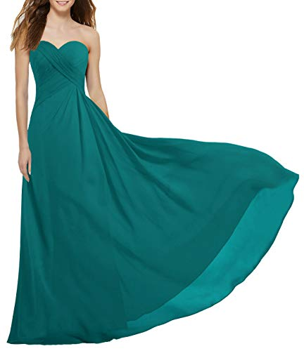 ANTS Women's Strapless Long Bridesmaid Dresses Chiffon Wedding Prom Gown Size 18W US Teal (Apparel)