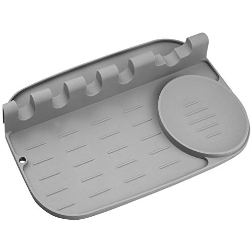 Silikon-Löffelablage, 2-in-1, größere Größe, Silikon-Löffelhalter für Herd, verbesserte Utensilienablage mit Tropfpad, inklusive 5 Schlitze & 1 Löffelhalter, leicht zu reinigen, Loch zum Aufhängen