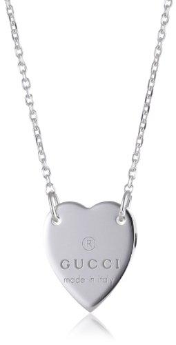 Gucci Trademark - Collana con pendente a forma di cuore, in argento Sterling, con marchio Gucci, rif. YBB223512001