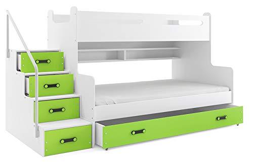 Cama litera triple MAX 3 (para tres niños) 200x80 y 200x120m , COLOR BLANCO - verde, todo includo! PRECIO MAS BAJO!…