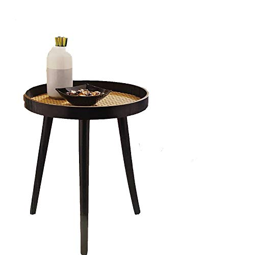 Black Wooden Table With Cane Detail Side Table Bedside End Table Round Coffee Table Sofa Side Snack Table Nightstand Living Room Bedroom Home Office Furniture Easy to Assemble