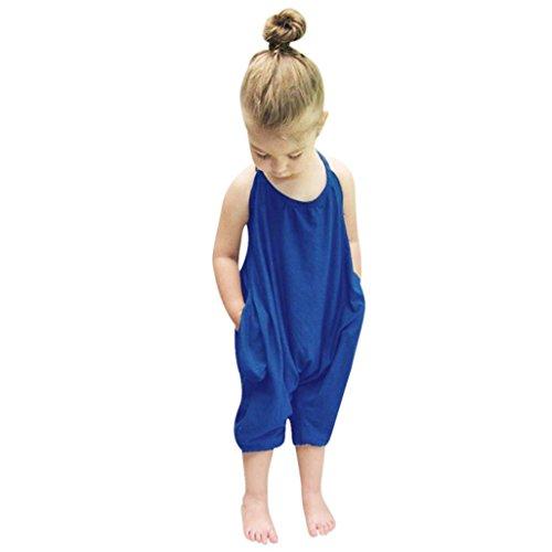 Kid Jumpsuits Strampler Kolylong® (1-7 Jahre alt) Kleinkind Kid Baby Mädchen Riemen Spielanzug Mädchen Sommer Outfits Overalls Hose Sommerkleidung (140CM (5-6Jahre alt), Blau)