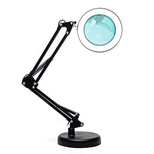 Luminaria Led Ring Light de Mesa Articulavel Abajur C/Garra Controle Intensidade Lupa Aumento 5x Preta