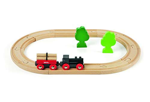 BRIO Classic - 33042 - Petit Circuit de Train En Foret - Coffret complet 18 pièces - Circuit de train en bois - 100% bois FSC - Jouet pour garcons et filles à partir de 2 ans