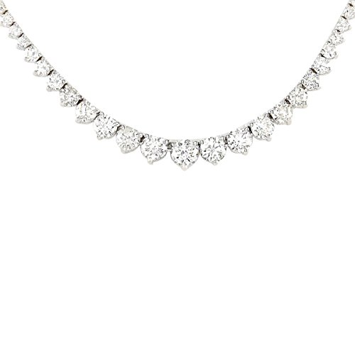 6.5 Carat Natural Diamond (F-G Color, VS1-VS2 Clarity) 18K White Gold Luxury Tennis Necklace for Women Exclusively Handcrafted in USA