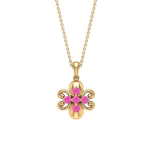 Colgante Art Deco, 1/2 CT redondo en forma de laboratorio creado zafiro rosa, colección de joyas florales, primer regalo de aniversario de boda, 14K Oro amarillo Sin cadena