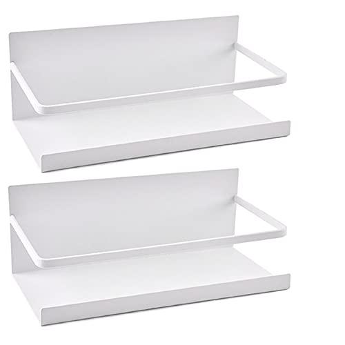 Kulmeo Magnetic Spice Rack Magnetic Shelf For Refrigerator Magnetic Fridge Spice Rack White 2 Pack