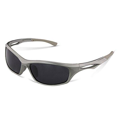 DUCO Polarisierte Sport Sonnenbrille zum Laufen Radfahren Angeln Golf TR90 Unbreakable Rahmen 6199 (Gunmetal Rahmen Grau Linse)
