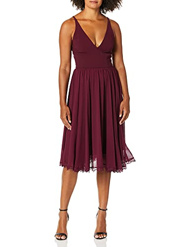 Dress the Population Women's Alicia Plunging Mix Media Sleeveless Fit and Flare Midi Dress, Burgundy, xs