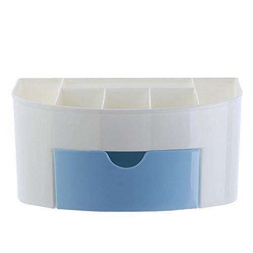 Caja de almacenamiento de escritorio impermeable plástica del cuarto de baño con los cajones, caja de almacenamiento cosmética multifuncional-azul