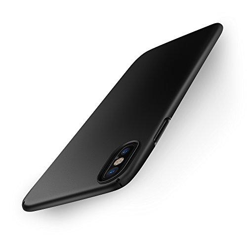 EasyAcc Coque pour iPhone XS/iPhone X, Étui en PC Dur Ultra-Mince et Léger Fin et Lisse avec la Finition Mate en Arrière Case Cover Protection Compatible avec iPhone XS/iPhone X - Noir