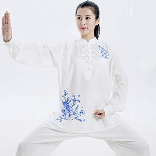 QIQI Yoga Tai Chi Uniform, Frau Traditionelles Kung Fu Kostüm Langarm Meditationstraining Stickerei,Weiß,XXL