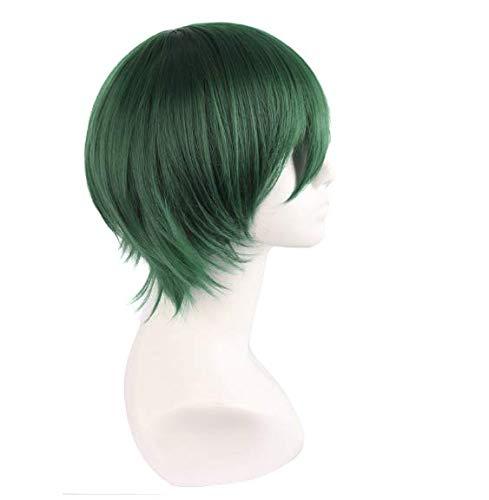 Court Curly Vert Foncé Cosplay Perruque Costume Parti Caractère Chaleur Naturel Flare Coiffure De Cheveux Synthétiques