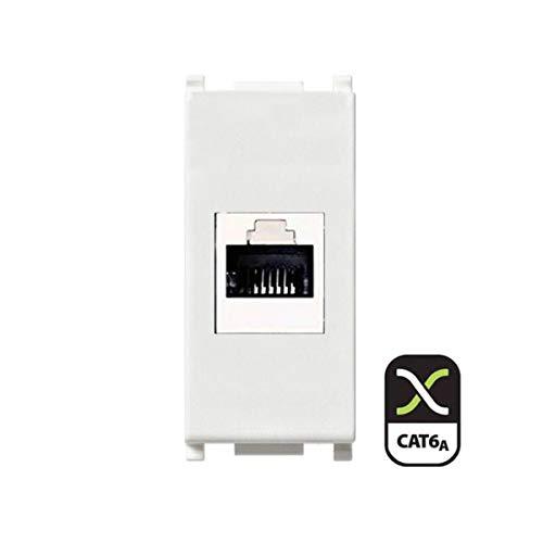 Frutto rj45 UTP cat.6A compatibile Vimar Plana 14337.6 presa modulare 8 poli per cavi ethernet connessione a crimpare senza attrezzi, colore bianco